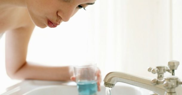 Is this woman using the best natural mouthwash?