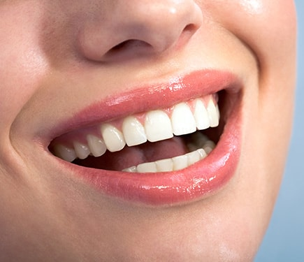 Close up teeth with healthy gums