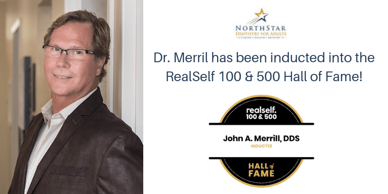 Portrait of Dr. Merrill and RealSelf Hall of Fame Logo