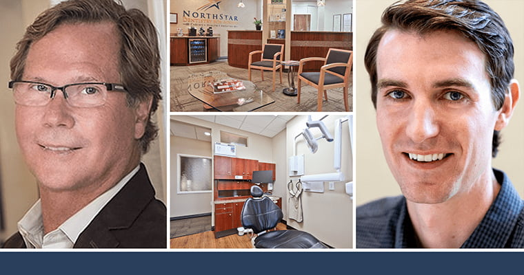 Dr. Merrill and Dr. Bunn with office shots of NorthStar Dentistry for Adults.