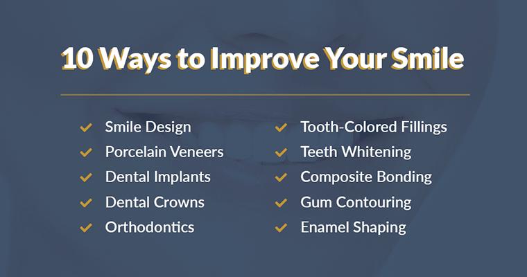 10 Ways to Improve Your Smile: Smile Design, Porcelain Veneers, Dental Implants, Dental Crowns, Orthodontics, Tooth-Colored Fillings, Teeth Whitening, Composite Bonding, Gum Contouring, Enamel Shaping